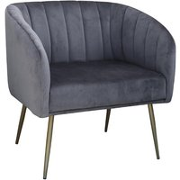 Product photograph showing Wingfield Velvet 1 Seater Sofa In Grey With Gold Metal Legs