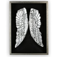 Product photograph showing Wings Painting Wooden Wall Art In Black And Antique Silver Frame