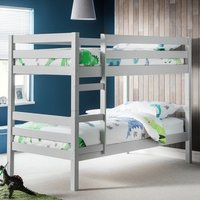 Product photograph showing Winona Wooden Bunk Bed In Dove Grey Lacquer Finish