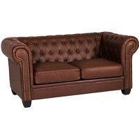 Product photograph showing Winston Leather And Pvc 2 Seater Sofa In Auburn Red