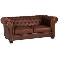 Product photograph showing Winston Leather And Pvc 3 Seater Sofa In Auburn Red