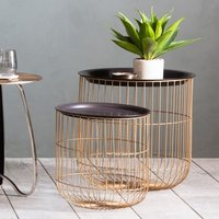 Product photograph showing Woburn Nest Of Tables In Black With Brass Metal Base