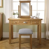 Product photograph showing Woburn Wooden Dressing Table In Oak 3 Drawers
