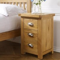Woburn Wooden Large Bedside Cabinet In Oak With 3 Drawers