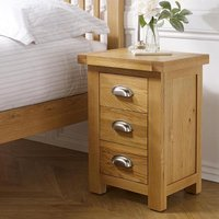 Woburn Wooden Small Bedside Cabinet In Oak With 3 Drawers