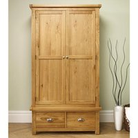 Woburn Wooden Wardrobe In Oak With 2 Doors And 2 Drawers