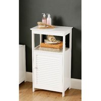 image-White Bathroom Floor Cabinet With Shelf