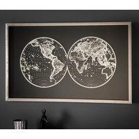 World Map Design Framed Wall Art In Grey