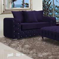 Product photograph showing Worley Malta Plush Velour Fabirc 2 Seater Sofa In Ameythst