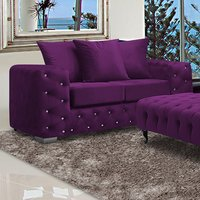 Product photograph showing Worley Malta Plush Velour Fabirc 2 Seater Sofa In Boysenberry