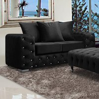 Product photograph showing Worley Malta Plush Velour Fabirc 2 Seater Sofa In Cosmic