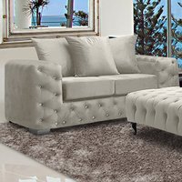 Product photograph showing Worley Malta Plush Velour Fabirc 2 Seater Sofa In Cream