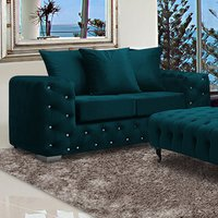 Product photograph showing Worley Malta Plush Velour Fabirc 2 Seater Sofa In Emerald