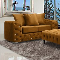 Product photograph showing Worley Malta Plush Velour Fabirc 2 Seater Sofa In Gold