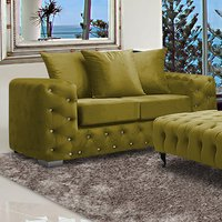 Product photograph showing Worley Malta Plush Velour Fabirc 2 Seater Sofa In Grass