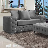 Product photograph showing Worley Malta Plush Velour Fabirc 2 Seater Sofa In Grey