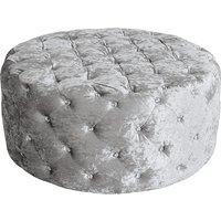 Product photograph showing Wrigley Fabric Round Pouffe In Crushsed Silver Finish