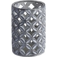 Product photograph showing Wyatt Large Geometric Stone Candle Sconce In Grey