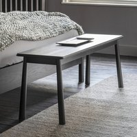 Wycombe Solid Oak Dining Bench In Black