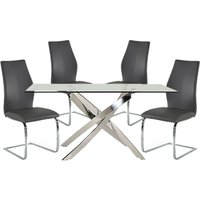 Xenon Rectangular Glass Dining Table With 4 Bernie Grey Chairs