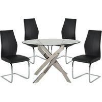 Xenon Round Glass Dining Table With 4 Bernie Black Chairs