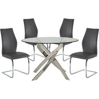 Xenon Round Glass Dining Table With 4 Bernie Grey Chairs