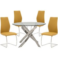 Xenon Round Glass Dining Table With 4 Bernie Pumpkin Chairs