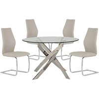 Xenon Round Glass Dining Table With 4 Bernie Taupe Chairs