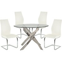 Xenon Round Glass Dining Table With 4 Bernie White Chairs