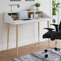 Product photograph showing Yeovil Wooden Computer Desk In White And Oak