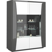 Product photograph showing Zaire Led Display Cabinet In Grey And Anthracite Gloss With 2 Doors