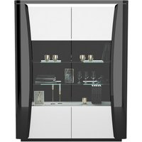 Product photograph showing Zaire Led Display Cabinet In White And Anthracite Gloss With 2 Doors