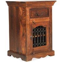 Zander Wooden Right Bedside Cabinet In Sheesham Hardwood