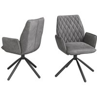 Product photograph showing Zanetti Swivel Dark Grey Velvet Fabric Dining Chairs In Pair