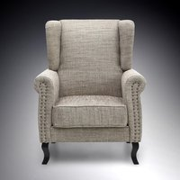 Product photograph showing Zanetti Contemporary Arm Chair In Tweed With Dark Legs