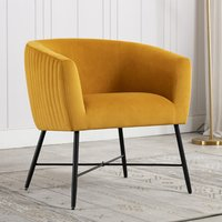 Product photograph showing Zara Velvet Upholstered Lounge Chair In Apricot