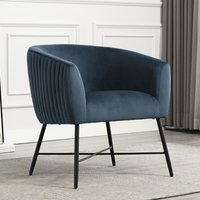 Product photograph showing Zara Velvet Upholstered Lounge Chair In Navy