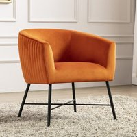 Product photograph showing Zara Velvet Upholstered Lounge Chair In Pumpkin