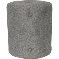 Product photograph showing Zebulon Round Fabric Stool In Dark Grey