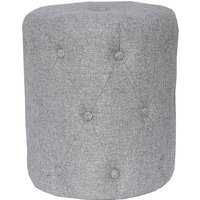 Product photograph showing Zebulon Round Fabric Stool In Light Grey