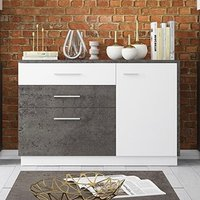 Product photograph showing Zenka 1 Door 2 Drawer Sideboard In Slate Grey And Alpine White