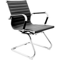 Zexa Faux Leather Dining Chair In Black With Chrome Metal Legs