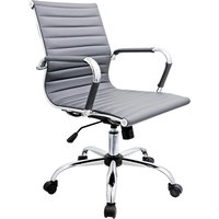 Product photograph showing Zexa Faux Leather Office Chair In Grey With Chrome Metal Frame