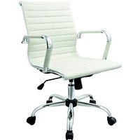 Product photograph showing Zexa Faux Leather Office Chair In White With Chrome Metal Frame