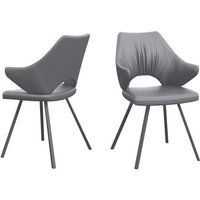 Product photograph showing Zola Grey Faux Leather Dining Chairs In Pair