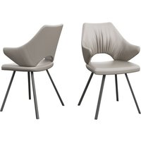 Product photograph showing Zola Taupe Faux Leather Dining Chairs In Pair