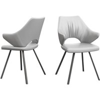 Product photograph showing Zola White Faux Leather Dining Chairs In Pair