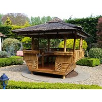 Product photograph showing Bamboo Gazebo Square 10ft X 11 6ft