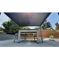 Product photograph showing Outdoor Games Diner Table - Tan White
