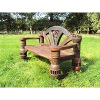 Product photograph showing Teak Hub Garden Bench